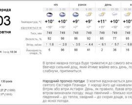 Киев погода 3 октября Ирпень