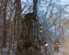 На Васильківщині водій не впорався з керуванням і вилетів у кювет