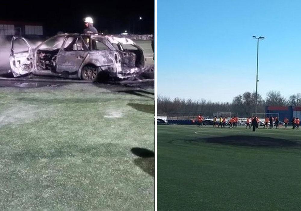 11111 З'явилося відео згорання автомобіля на футбольному полі в с. Щасливе