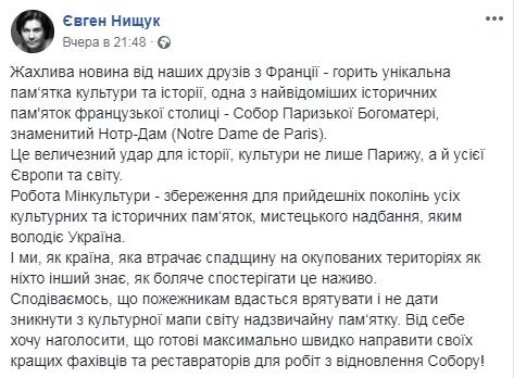 Українців обурила пропозиція міністра культури допомогти Франції - Париж, мінкультури - 1604 notrdam