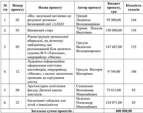 00000_n Громадський бюджет Василькова розподілено: визначені кращі проекти