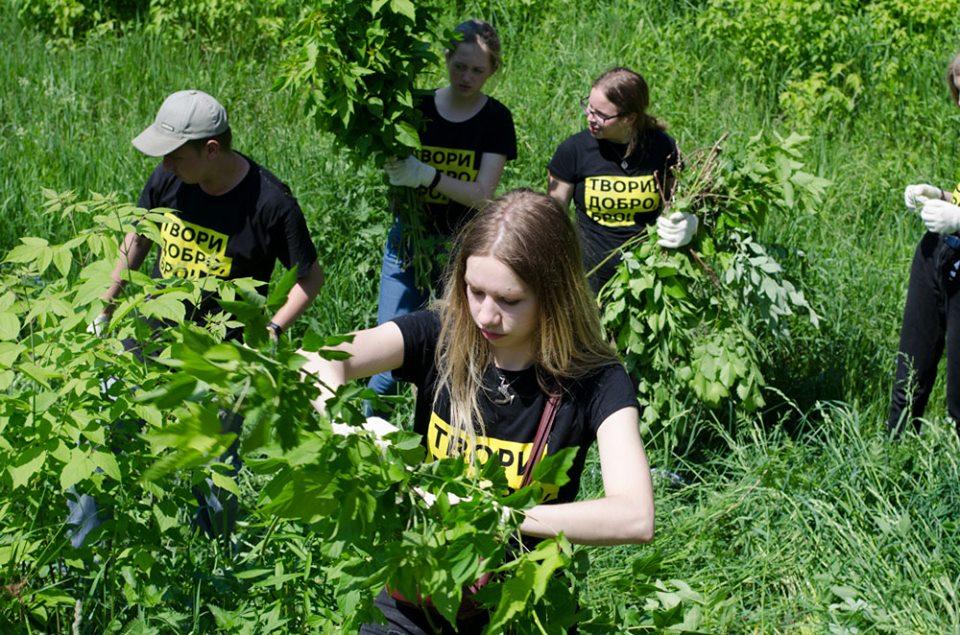 80 волонтерів з усієї України наводили лад на руїнах садиби Остен-Сакен у Немішаєвому - толока, Остен-Сакен, Немішаєве - 2005 nemesh2