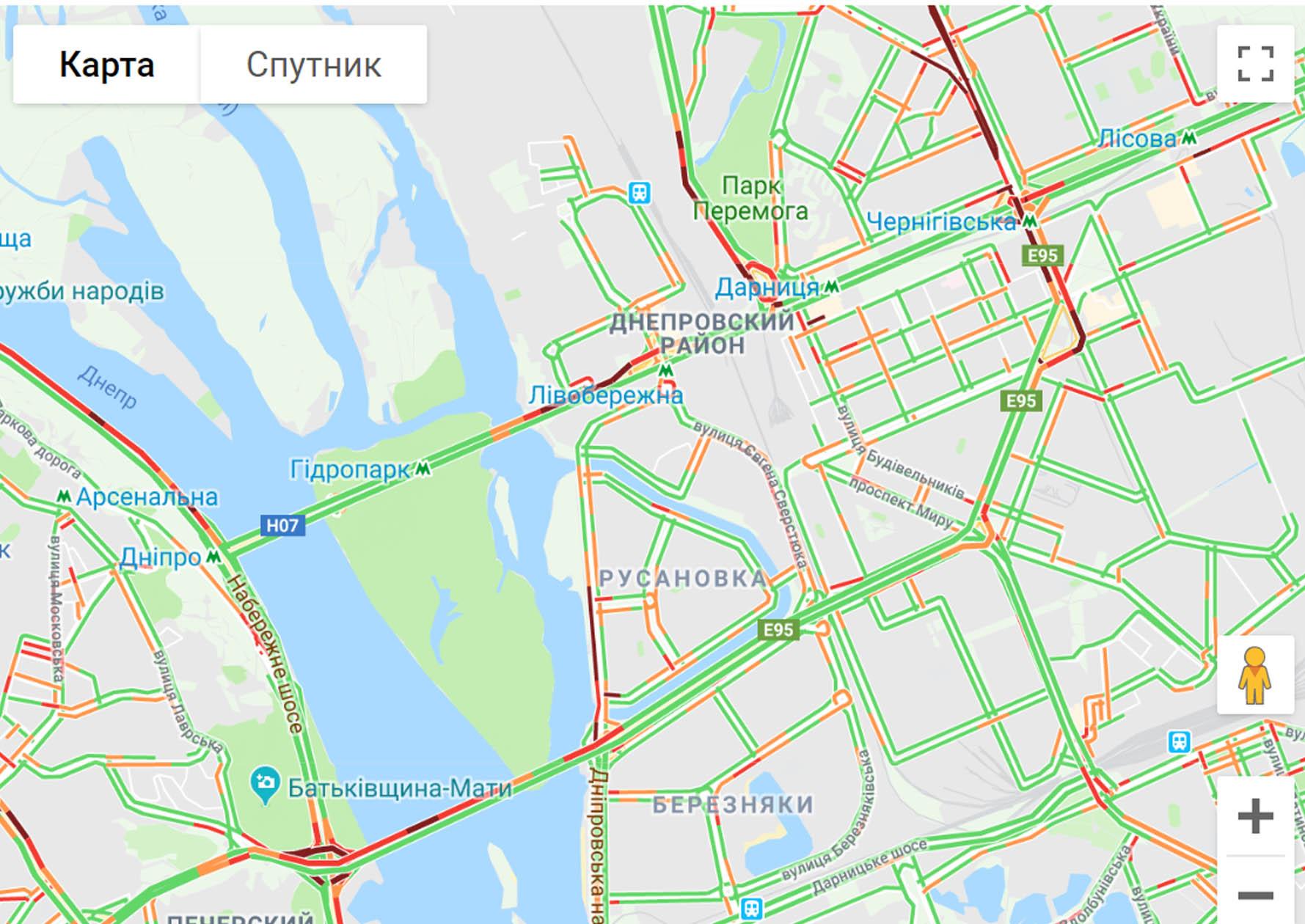 """Затори в Києві: які вулиці """"зупинилися"""" -  - 489ghkmnb"""