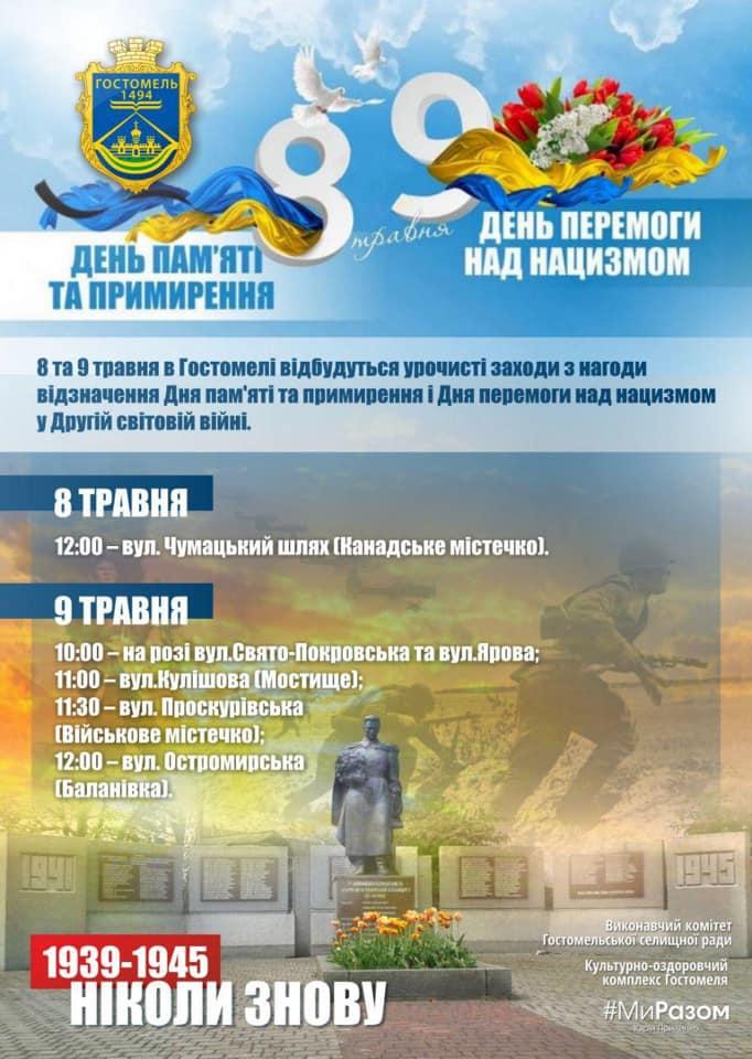 Gost-Peremoga День Перемоги над нацизмом: у Гостомелі пам'ять мужніх воїнів вшанують на 5 меморіальних комплексах селища