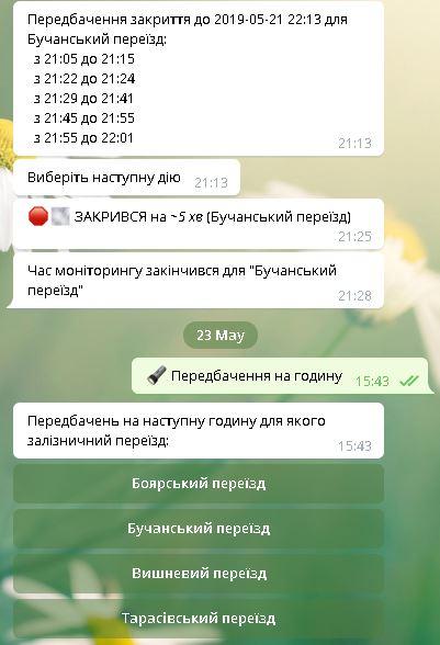 Не хочете стояти на переїзді — завантажуйте чат-бот Telegram (Буча, Боярка, Вишневе і Тарасівка) -  - per
