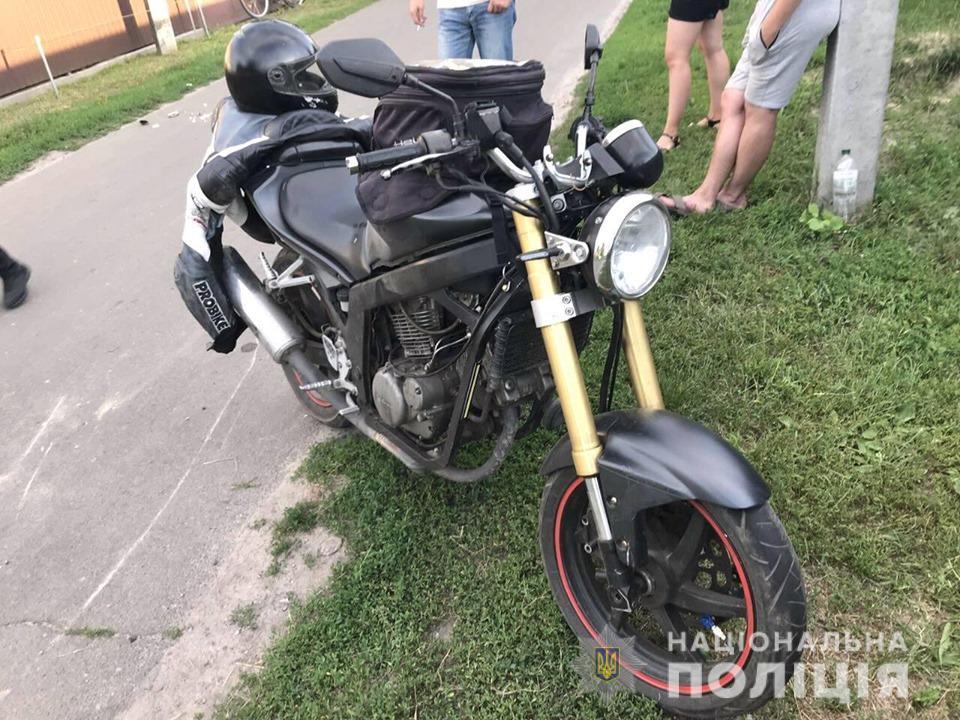 mototsykl На Броварщині мотоцикліст не розминувся з велосипедистом