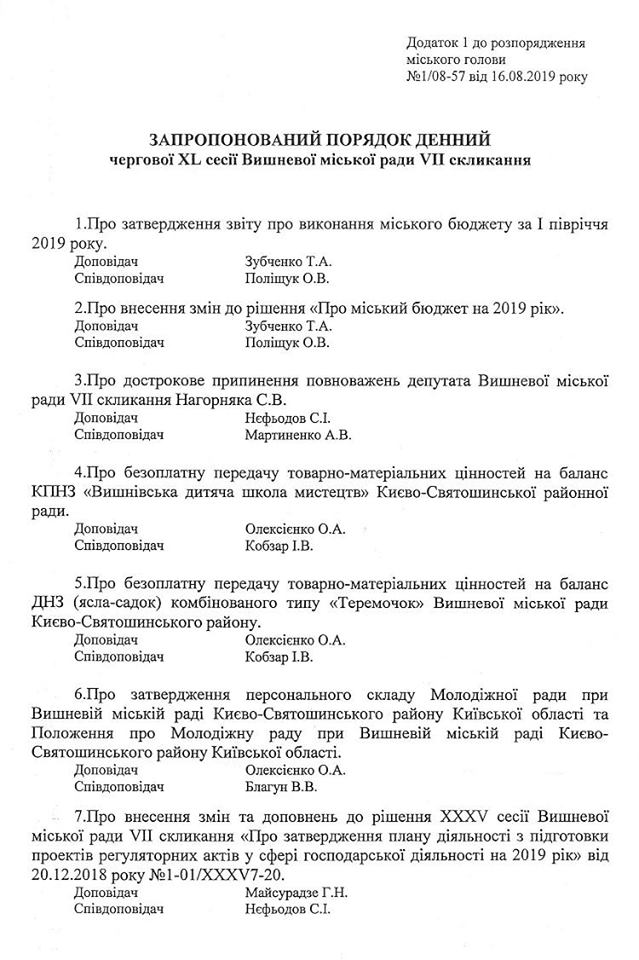 68604807_2413211378926520_217482201678217216_n У Вишневу розглянуть питання припинення повноважень депутата від БПП