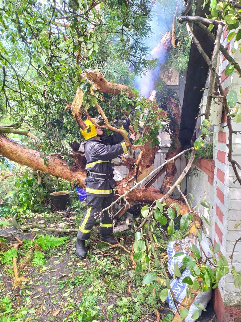 Der-dah-3 Дерево «приземлилося» на дах: у Бучі рятувальники ліквідовували наслідки буревію