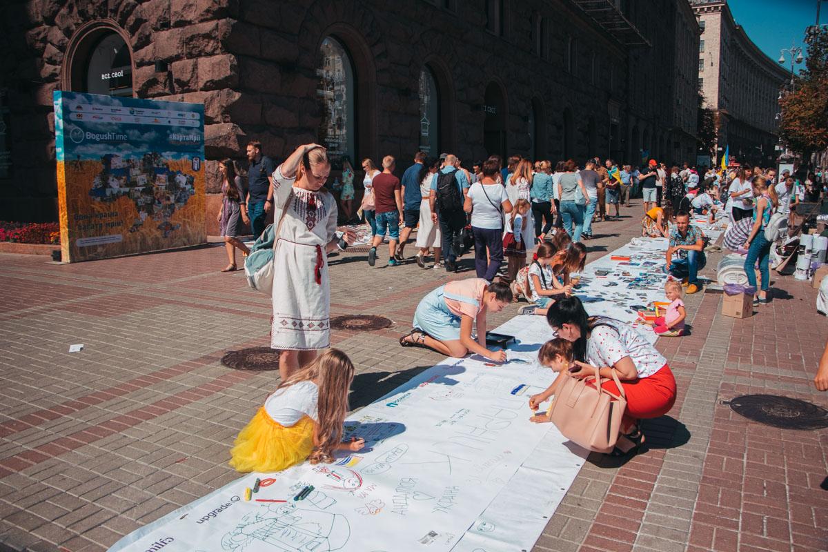 1000 квадратних метрів: на Хрещатику народжувалася найбільша в світі карта мрій - Флеш моб, київщина, Київ - Mechta