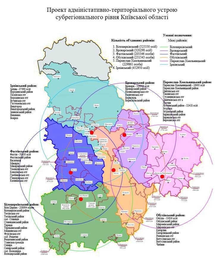 На Київщині запропонували альтернативний проєкт районування: він включає 6 районів (ВІДЕО) - Фастівський район, районування Київщини, Переяслав-Хмельницький район, Обухів, Броварський район, Білоцерківський район - Proekt ustroyu Kyyivshhyny 1