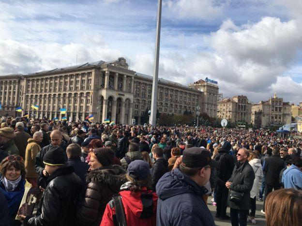 «Ні капітуляції!»: на Майдан Незалежності в Києві вийшло понад 10 тисяч протестувальників