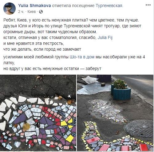 Фреска під ногами: кияни перетворили ями на асфальті в справжні витвори мистецтва - Київ - 18 plytka4