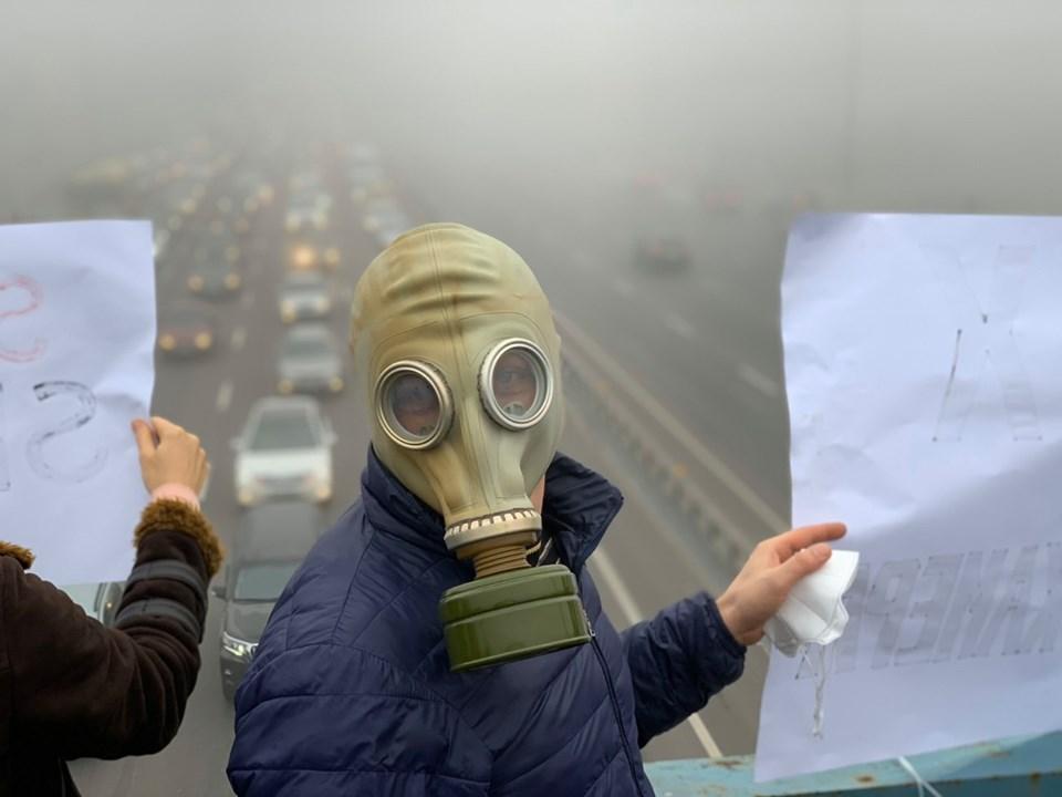 «Хочемо дихати, а не задихатися»: кияни страйкують проти брудного повітря - смог, повітря, Київ, забруднене повітря - 24 vozduh4