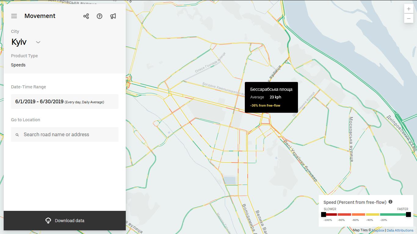 Uber запустив сервіс з моніторингу навантаженості доріг - транспортна інфраструктура, столиця, затори на дорогах, дорожній рух, громадський транспорт, активний трафік, uber - Uber Movement 2