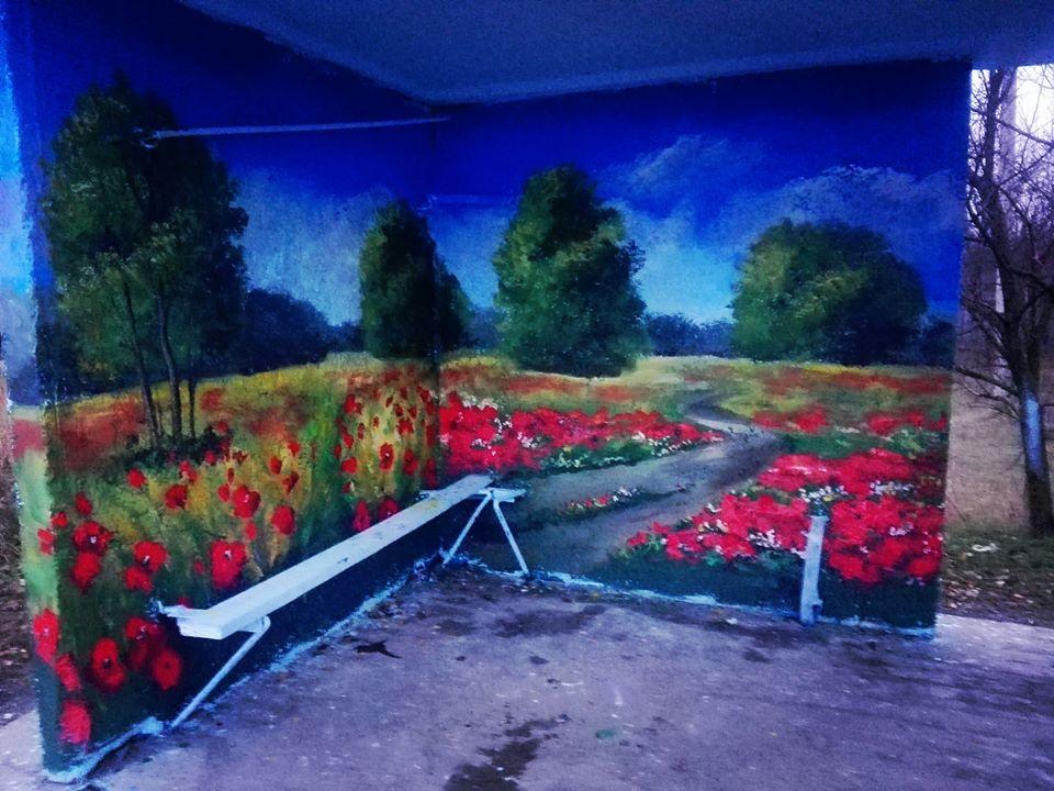 Фастівська художниця продовжує прикрашати автобусні зупинки у районі -  - Dorogynka2