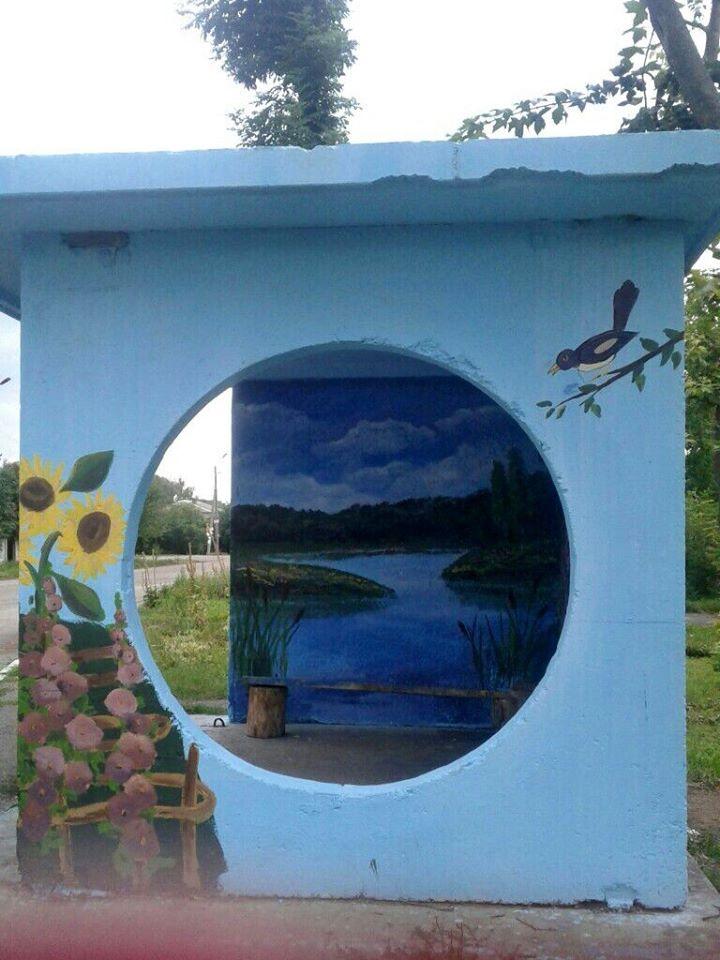 Фастівська художниця продовжує прикрашати автобусні зупинки у районі -  - Malopolo