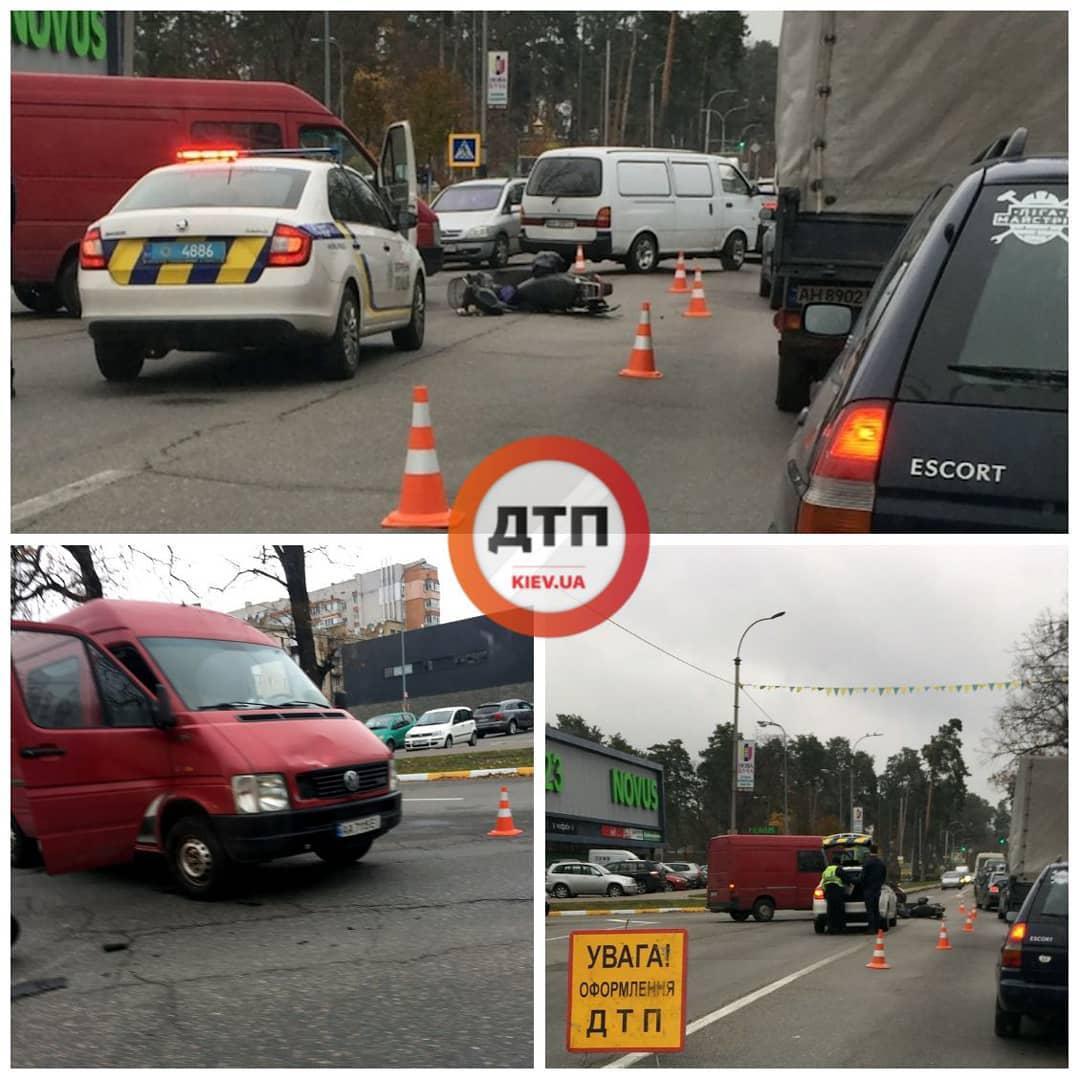 """Novus-2 У Бучі на """"Варшавці"""" сталася аварія, в якій постраждав мотоцикліст"""