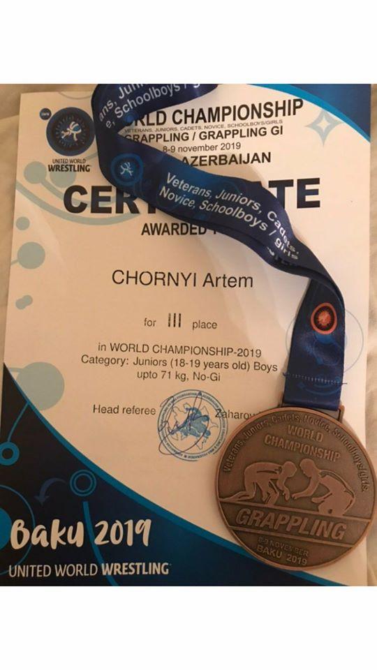 """baku-wc-2019-Chorn-medal """"Срібло"""" та три """"бронзи"""": ірпінські студенти відзначилися на чемпіонаті світу з грепплінгу"""