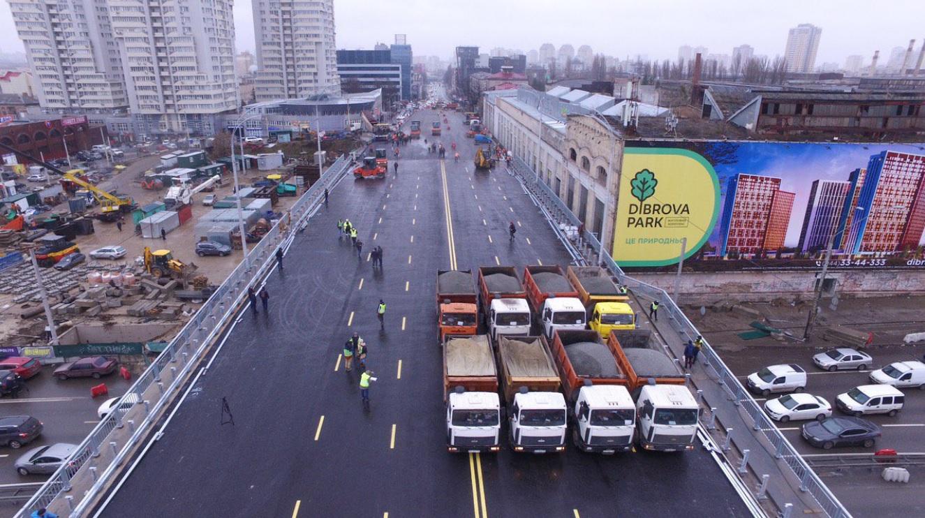 30-тонними МАЗами - по мосту: Шулявський шляхопровід випробували на міцність - Шулявський міст, Віталій Кличко - SHulyavskyj mist 1