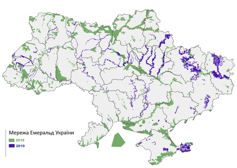 Smaragd-merez-karta Смарагдова мережа надає охоронний статус у рамках Бернської конвенції