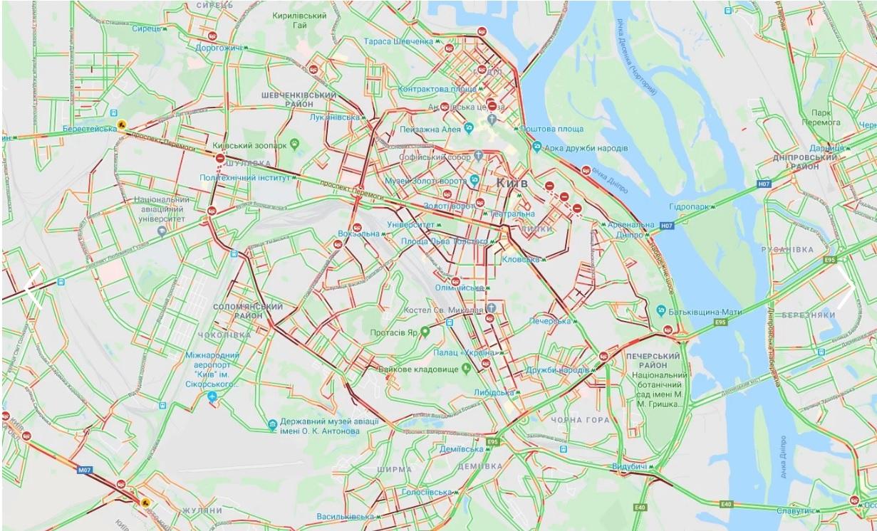 Інформація для водіїв: у Києві - величезні затори через численні ДТП (карта) - Київ, затори на дорогах - yachsyach