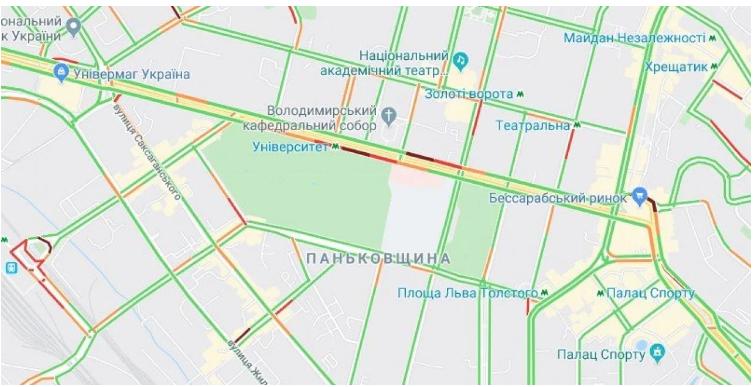 Прорив на Либідській викликав числені затори в столиці (карта транспортного колапсу) -  - Screenshot 4 2