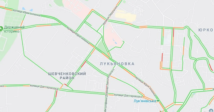 Screenshot_5-4 Прорив на Либідській викликав числені затори в столиці (карта транспортного колапсу)