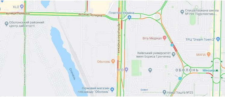 Прорив на Либідській викликав числені затори в столиці (карта транспортного колапсу) -  - Screenshot 6 4