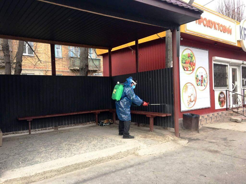 В Бородянці дезінфікують зупинки, сквери, площі та під'їзди - коронавірус - 18 borodyanka