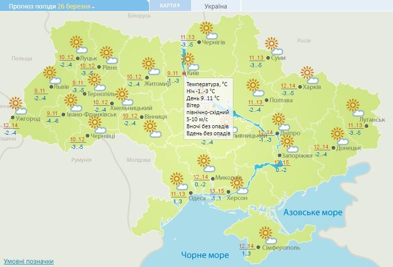 26 березня на Київщині почне потроху теплішати - погода - 26 pogoda