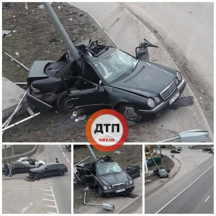 Під Обуховом Mercedes внаслідок зіткнення влетів у стовп -  - 87077999 1596690823830138 4121053702133907456 n