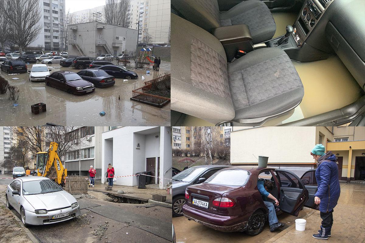 На столичній Солом'янці прорвало трубу: вода затопила підвали, подвір'я та автомобілі -  - Bez imeni 3