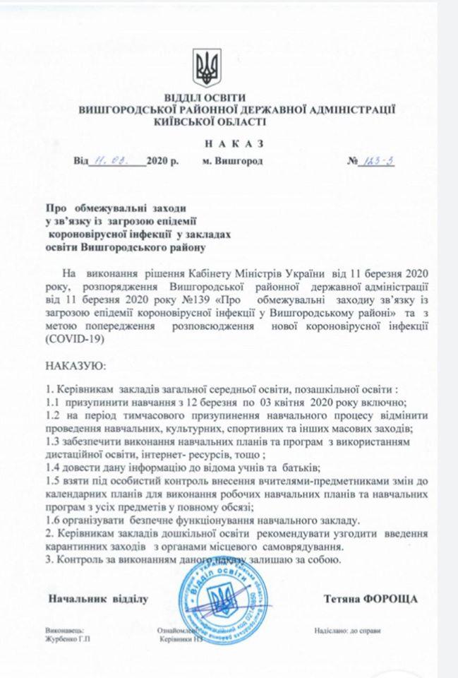 На Вишгородщині призупинено навчання та обмежено проведення масових заходів - київщина, карантин, Вишгородський район - kar1