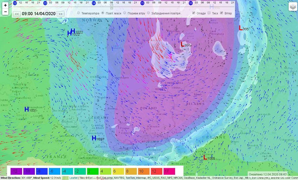 Через холодний атмосферний фронт 13-14 квітня в Україні очікується 0°С та сніг з дощем - погода - 13 poholodannya