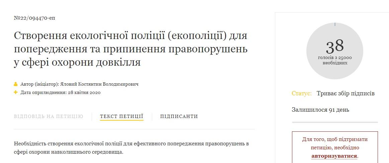 На сайті Президента з'явилася петиція про створення екологічної поліції - петиція - 28 petytsyya