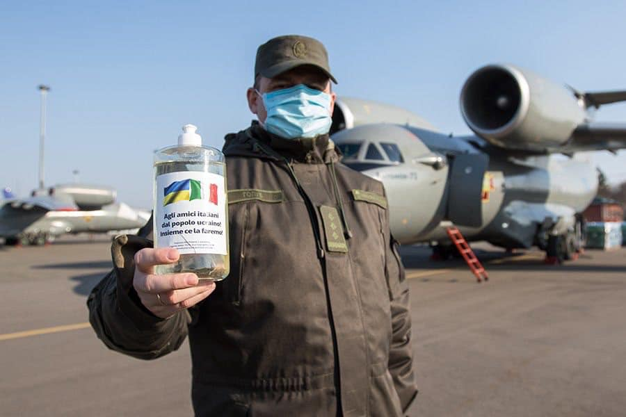 Для боротьби із COVID-19 Україна передала Італії п'ять тон дезінфікуючої рідини -  - 92693549 2903442806409058 6489461959509934080 n