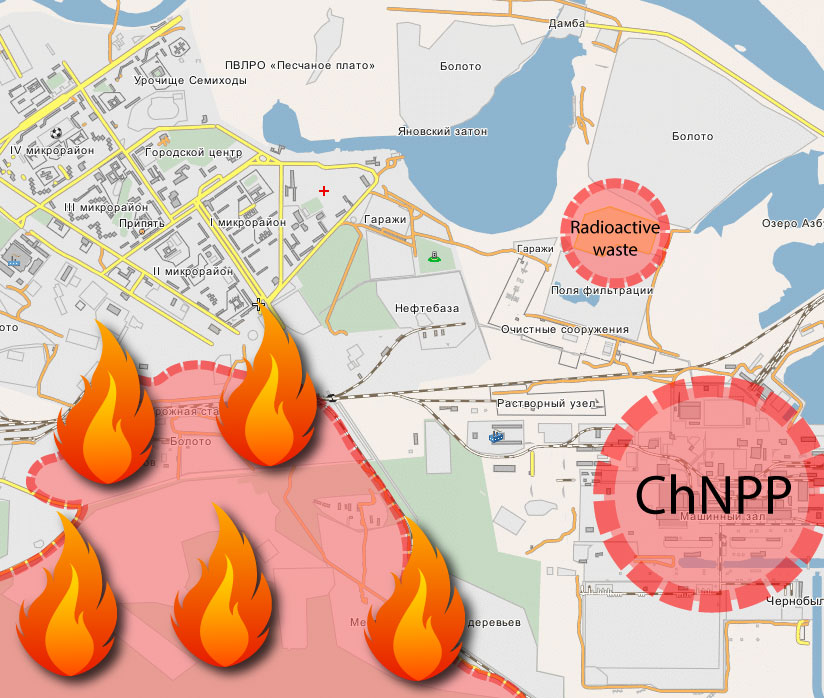 Вогонь у Чорнобильській зоні наближається до сховища з радіоактивними відходами -  - 92954521 1872618536206574 838843280828399616 n