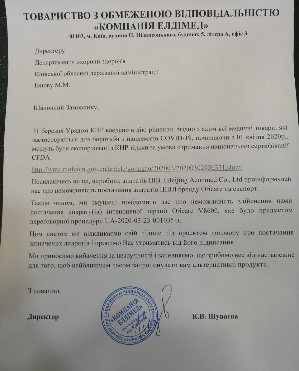На Київщині заблокована закупівля апаратів ШВЛ -  - img 20200407 182819