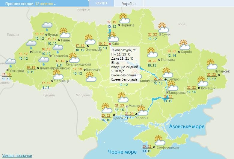 Погода на Київщині 12 жовтня: мінлива хмарність, вдень до +21°С - прогноз погоди, погода - 12 pogoda