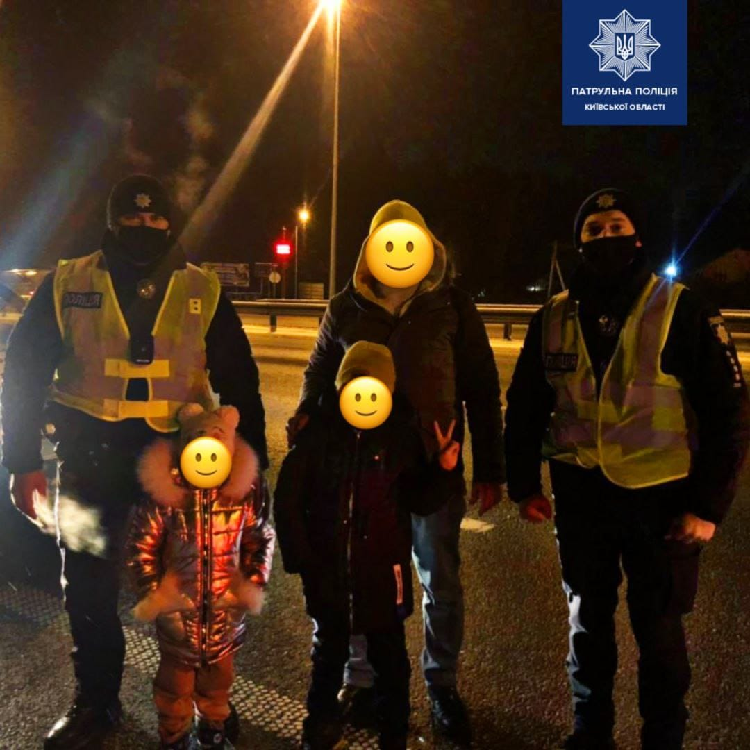 Без пального на морозі: чайківські патрульні допомогли подружжю із маленькими дітьми - Чайки, патрульна поліція Київщини, київщина - Chayky palne