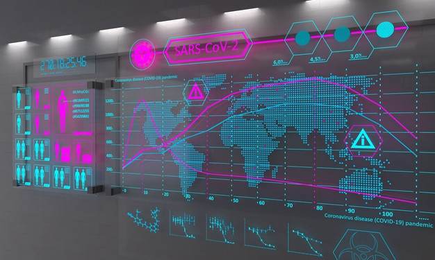 Майже 100 млн заражень коронавірусом у світі - статистика COVID-19, світ, коронавірус, зараження - colorful digital graph of virus infection in the world 334678 52