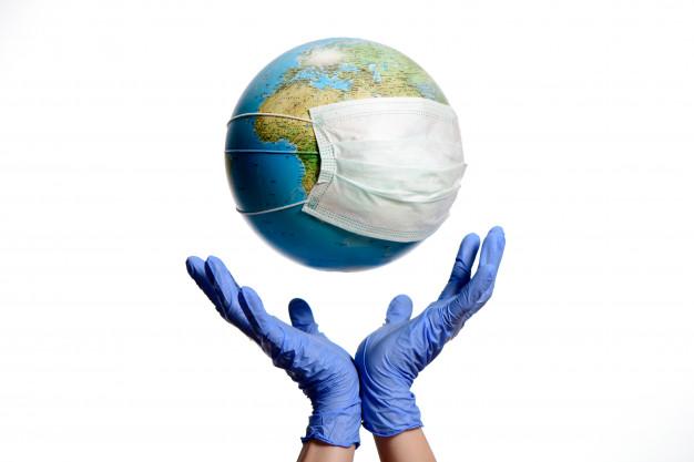 Майже 100 млн заражень коронавірусом у світі - статистика COVID-19, світ, коронавірус, зараження - earth globe with protective mask and hands with gloves 74782 390