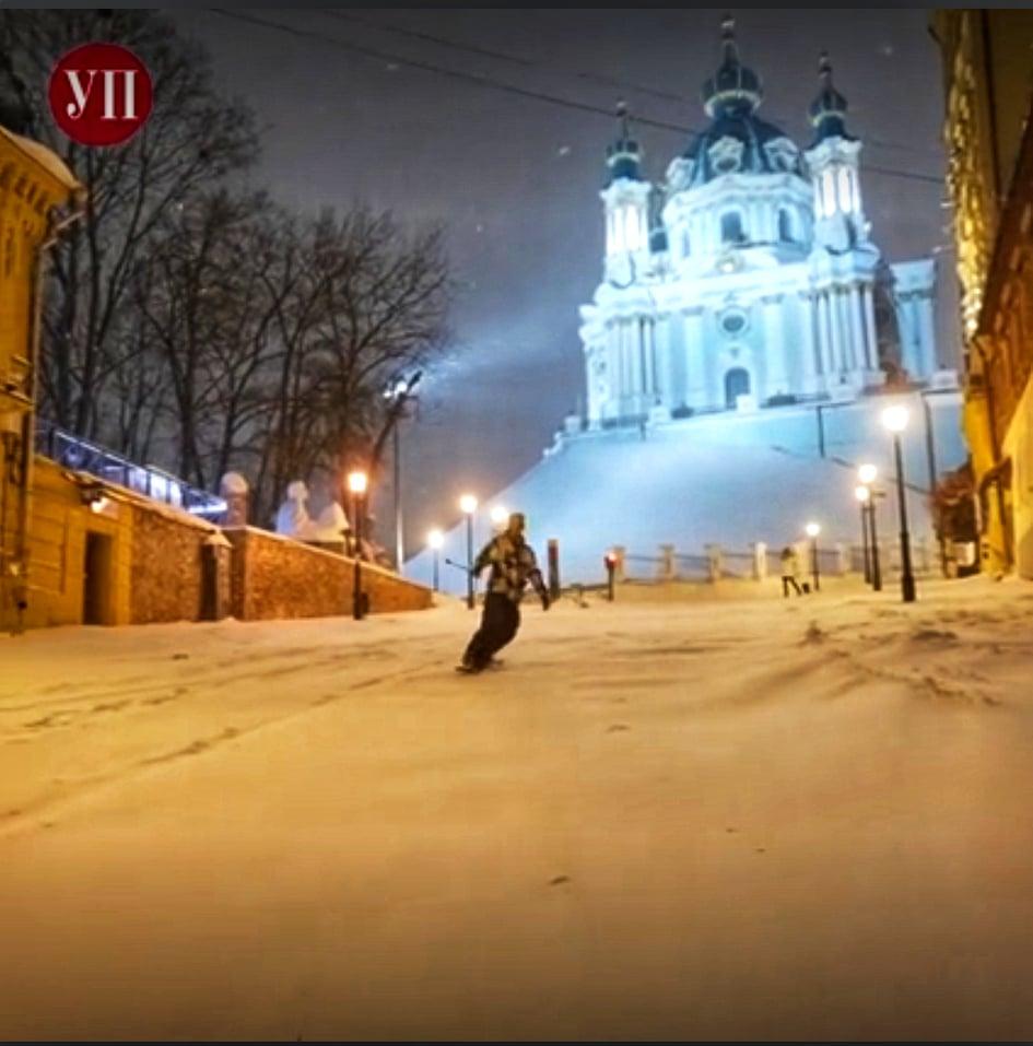 Андріївський узвіз перетворився на столичний «Буковель» - столиця, сніг, Розваги, Курорт - 147564436 434562997884156 7155027415338981499 n